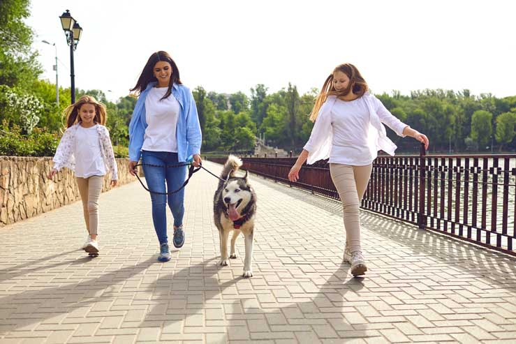 Mother and daughters walking their dog for exercise